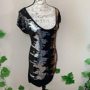 BCBGMaxAzria Dresses - BCBG Maxazria Sequin Gold Silver Dress
